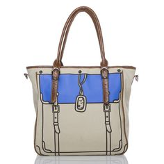 Henniker canvas tote with faux-croc trim and handles