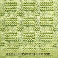 Easy knitting stitch with rows of reverse garter and stockinette tiles. The beautiful detailing is created by embellished 3-stitch stockinette ribs.