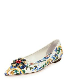 S0EV9 Dolce & Gabbana Jewel-Embellished Printed Canvas Skimmer, Multi