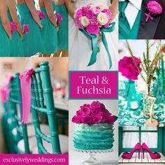 Teal and Fuchsia for wedding colors!
