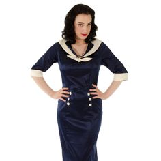 Hell Bunny Sandra Dee Dress (Navy/Ivory)- Blue Banana