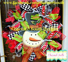Whimsical Christmas wreath.  Follow us at www.facebook.com/charmedsouth christma wreath, christmas wreaths, whimsic christma, snowman wreath, winter holiday, christma stuff, whimsical christmas, holiday style, holiday decor