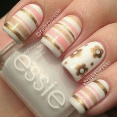 Looking for new nail art ideas for your short nails recently? These are awesome designs you can realistically accomplish–or at least ideas you can modify for your own nails! - Credits to the owner of the image - Striped Nail Designs, Striped Nails, Cute Nail Designs, Awesome Designs, Fabulous Nails, Gorgeous Nails, Pretty Nails, Cute Nail Art, Beautiful Nail Art