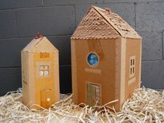 By Billie Lopez and Tootie Maldonado Last December, we were looking for a creative way to reuse the extra shipping boxes we had lying around our shop. Cardboard Gingerbread House, Gingerbread Houses, Homemade Forts, Crafts To Make, Crafts For Kids, Paper Houses, Cardboard Houses, Art Houses, Doll Houses