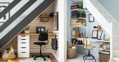 Maximiser l'espace sous les escaliers du sous-sol ou du rez-de-chaussée en aménageant un coin bureau! #escaliers #escaliersinterieur #rangement #décomaison #maisondecor #bureau