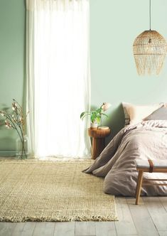 Expert Advice for Choosing Paint Colours (and actually Loving the Result! light green bedroom walls with taupe bed linen and sheer curtaisns from taubmans paint. All the help you need to make the right decision. Green Bedroom Walls, Bedroom Wall Colors, Home Decor Bedroom, Bedroom Ideas, Modern Bedroom, Girls Bedroom, Green Master Bedroom, Green Bedroom Decor, Green Bedrooms