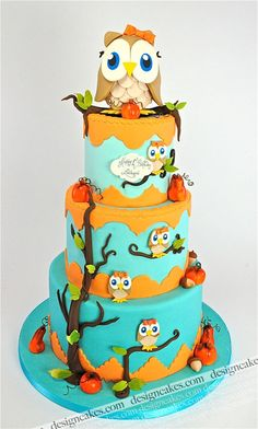 Cute Owls 3 tiered Cake I love owls hello sweet 16 cake!!!!