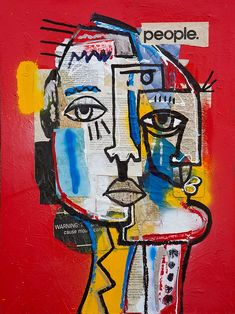 People Canvas Wall Art by Gabe Weis Abstract Face Art, Posca Art, Funky Art, Hippie Art, Psychedelic Art, Art Plastique, Urban Art, Oeuvre D'art, Collage Art