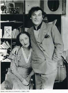 Marc Chagall and his first wife Bella Rosenfeld Chagall in Paris photographed by Andre Kertesz.