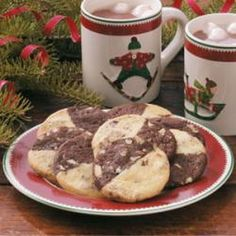 Double Delights Recipe Desserts with butter, sugar, eggs, vanilla extract, all-purpose flour, cocoa, baking soda, salt, chopped pecans, baking chocolate, softened butter, sugar, eggs, vanilla extract, all-purpose flour, cream of tartar, baking soda, salt, chopped pecans, sweet chocolate