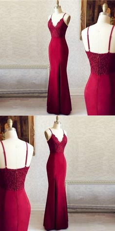 best=Mermaid Spaghetti Straps Side Slit Burgundy Long Prom Dress with Lace prom dress Online Store , Looking for that Perfect Prom Dress? Fitted Prom Dresses, Prom Dresses Online, Trendy Dresses, Fashion Dresses, Formal Dresses, Dress Prom, Dress Online, Long Dresses, Dress Long