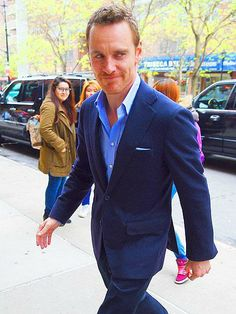 Let's see some more moves! X-Men: Days of Future Past star Michael Fassbender suits up while out in New York's Tribeca neighborhood. http://www.people.com/people/gallery/0,,20815026,00.html#30152337
