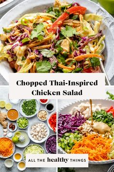 This Chopped Thai-inspired Chicken Salad is full of fresh veggies, shredded chicken, and dressed with the most delicious creamy almond butter dressing. It's a hearty salad that is perfect for a quick lunch or easy dinner. This recipe is Whole30 compliant, Paleo, and gluten-free. Paleo Recipes Easy, Easy Salad Recipes, Easy Salads, Lunch Recipes, Free Recipes, Buttered Cabbage, Thai Chicken Salad, Salad Ingredients, Slow Cooker Recipes