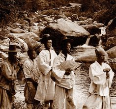 OLD KOREA - LAND OF THE MORNING CALM -- High Class Dandys on a Nature Hike. Near SEOUL  Photo by UNKNOWN photographer, ca.1899-1900.