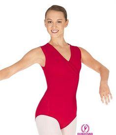 Eurotard wrap-front leotard; nylon; red, royal, black; size XL; $27 at The Dance Wear Shoppe / $39 on Amazon