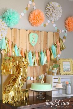 Simply Ciani: Peach, Mint & Gold Farm Fresh Birthday Party