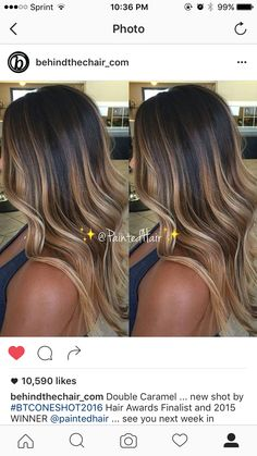 37 Sweet Caramel for 2019 Balayage is an alternative technique to traditional salon highlighting with foils. Your colorist can literally paint highlights precisely where the sun would actually hit your hair. Caramel balayage on black hair can. Ombre Hair Color, Hair Color Balayage, Brunette Hair Chocolate Caramel Balayage, Haircolor, Fall Balayage, Caramel Ombre, Orange Caramel, Caramel Brown, Bayalage Caramel