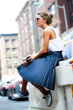 Tank Top & Pleated Midi Skirt
