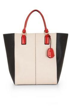 """""""Sienna""""colorblocked tote, BCBGMAXAZRIA, $378, bcbg.com."""