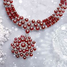 Magnificent necklace showcases 653 diamonds and 168 ruby beads (Diamonds 28.48cts; Rubies 354.19cts).