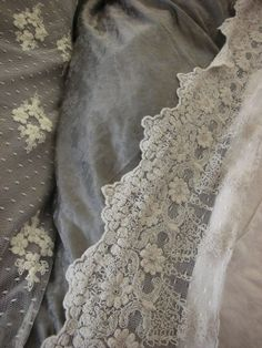 trend: grey and cream textiles, vintage lace Antique Lace, Vintage Lace, Victorian Lace, Vintage Flowers, Decoration Gris, Flea Market Style, Fru Fru, Textiles, Pearl And Lace