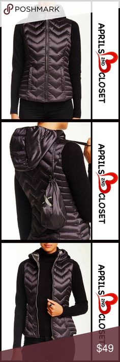 "HOODED DOWN PUFFER VEST RETAIL PRICE: $85 💟 NEW WITH TAGS 💟  HOODED DOWN PUFFER VEST * Sleeveless  * Incredibly cozy & well made * Chevron quilting, down filing, attached hood, & 2 front welt pockets    * About 23"" long; Size XL = sizes 14-16  * Zip front closure  Fabric- Polyester shell & lining, 80% down & 20% feather filing  Color: Charcoal grey metal Item: SEARCH WORDS# puffer cold weather winter jacket metallic 🚫No Trades🚫 ✅ Offers Considered*✅ *Please use the blue 'offer' button to…"