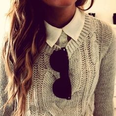 Layering: Chunky Sweater + Oxford Shirt
