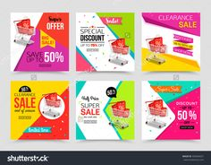 Collection Of Modern Sale Banner Template. Vector Illustrations For Marketing, Online Shopping, Mobile Banner, Advertising Poster, Ads, Mailings And Seasonal Sales. - 492846631 : Shutterstock