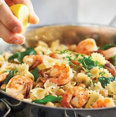Greek Pasta with Shrimp, Garbanzo Beans and Lemon is as easy as it is gorgeous. Have all the ingredients prepped and ready to go before you start cooking so you can get it on the table quickly. A taste of summer!