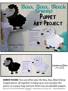 Baa,+Baa+Black+Sheep+Nursery+Rhyme+Puppet+Art+Project+from+LearnandGrowDesigns+on+TeachersNotebook.com+-++(15+pages)++-+Baa,+Baa,+Black+Sheep+Nursery+Rhyme+Puppet+Art+Project+with+printable+Nursery+Rhyme+Poster.+Puppet+comes+with+3+versions:+color+your+own,+fully+colored+black+sheep,+and+fully+colored+white+sheep.+So+much+fun+to+go+along+with+the+class+nursery+rhyme+""