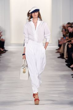 Head-to-Toe White Style from 2016SS Ralph Lauren Collection | Fashionsnap.com