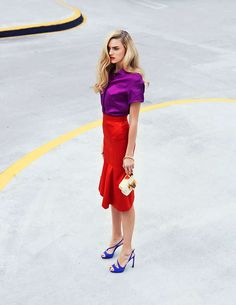 Edgy Color-Blocked Fashion - The Grazia Italy 'Colori Fluo' Photoshoot Stars Nika Lauraitis (GALLERY)