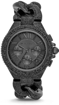 311542e8f252 Michael Kors MK3249 Camille Black Chrono Date Glitz Dial Steel Women Watch  NEW - OMG!