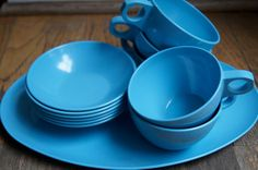 Blue melmac Blue melamine Blue Allied by ChippedGREENchair on Etsy, $18.00