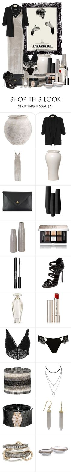 """Untitled #528"" by panprou ❤ liked on Polyvore featuring Pottery Barn, River Island, Boohoo, Emissary, Vivienne Westwood, Uttermost, Givenchy, Casadei, Victoria's Secret and By Terry"