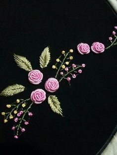 Embroidery On Kurtis Hand Embroidery Stitches Hand Embroidery Designs Embroidery Dress Embroidery Patterns Brazilian Embroidery Meraki Jelsa Blouse Designs Bullion Embroidery, Embroidery Neck Designs, Floral Embroidery Patterns, Hand Embroidery Videos, Embroidery Flowers Pattern, Rose Embroidery, Hand Embroidery Stitches, Silk Ribbon Embroidery, Japanese Embroidery