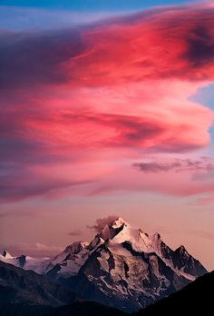 Amazing clouds over mountain top, Switzerland