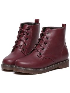 Wine Red Casual Round Toe PU Boots 37.77