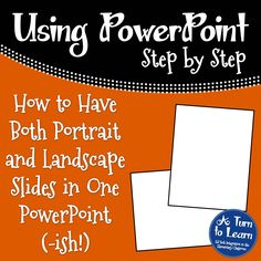 How to have both portrait and landscape slides in PowerPoint! A nice trick for teacher authors! You are in the right place about preschool Teacher Resources Here we offer you the most beautiful pictur Computer Basics, Computer Class, Computer Technology, Computer Programming, Computer Tips, Educational Technology, Computer Science, Powerpoint Tutorial, Powerpoint Tips