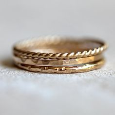 Gold stacking rings 14k solid gold stacking rings