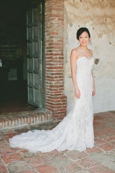 Strapless lace dress: http://www.stylemepretty.com/california-weddings/2014/11/04/classic-romance-at-serra-plaza/ | Photography: Onelove - http://www.onelove-photo.com/