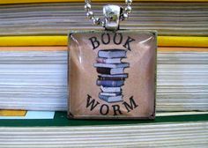 Geek Jewelry, Book Worm Necklace, Gifts for Nerdy Girls, Literary Jewelry