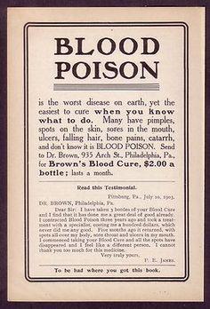 1905 old antique VINTAGE paper print AD for Dr Brown's Blood Cure drug medicine