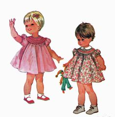 Vintage 1960s Sewing Pattern - Classic Toddlers Spring or Summer Short Sleeve Dress With Smocking At Neckline by TheOldLeaf, $7.99