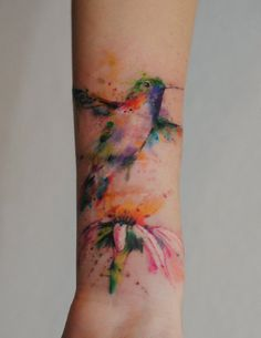 Hummingbird watercolor blossom tattoo - 55  Awesome Forearm Tattoos  <3 <3