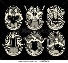 Circus. Vintage icons collection. The strong man, The siamese twins, The Circus…