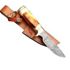 Custom Handmade Damascus Steel Hunting Knife (Bone Handle) (DM-0119)