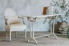 1930s White Art Deco Cast Iron Marble Table