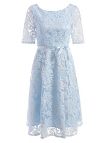 Embroidered Lace Knee Length Swing Dress - Light Blue - Light Blue M