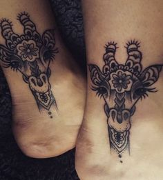 Cute Giraffe Ankle Tattoo.